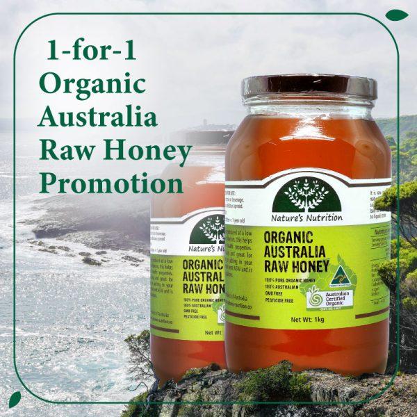 Nature's Nutrition Organic Australian Raw honey 1kg twin